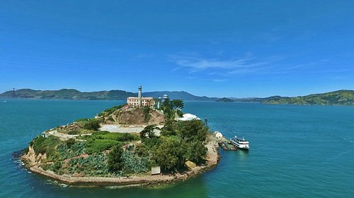Aerial shot of Alcatraz Skyline...