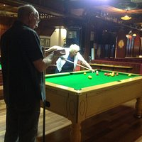 Good game of pool in the huge bar area