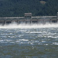 View of Dam from this area, Fort Cascades Historic Site, Columbia River, Washington