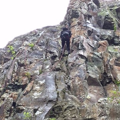 Rappelling down Little Stony Man