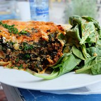 Beef Lasagna with bulgur and spinach salads