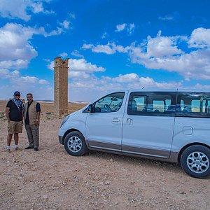 STI car and my driver cum guide Hussam