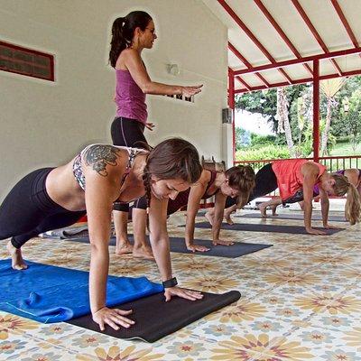 Leading a Yoga Puente at Hacienda Venecia.