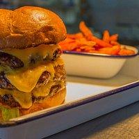 Triple Mac Burger & Sweet Potato Fries