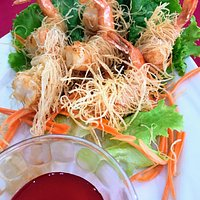 Main course - seafood pasta  Appetizer - fried angle pasta wrapped with large shrimps