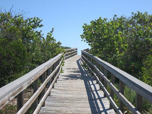 Boardwalk to beach from parking lot