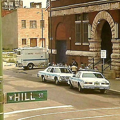 """""""Hill Street Blues"""" station with """"Metro""""  vehicles.  The Hill St. sign replaced Maxwell St. sign"""