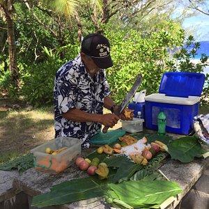 George preparing lunch.