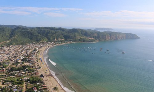 Paragliding flight view of the south point of Puerto Lopez