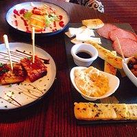 The Duke sharing platter, glazed pork belly and deep fried halloumi