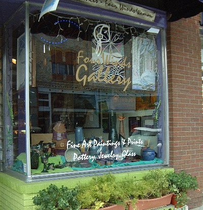 Four Winds Gallery front window, display changes every month. Come see us!
