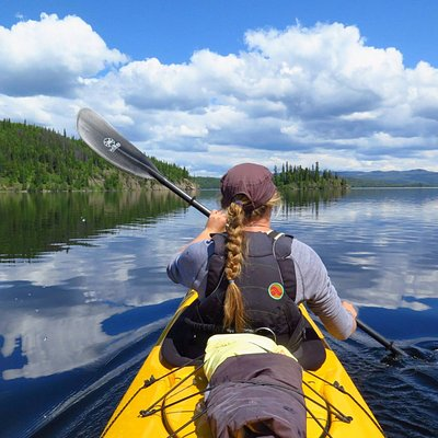 Kayak touring on Babine Lake.