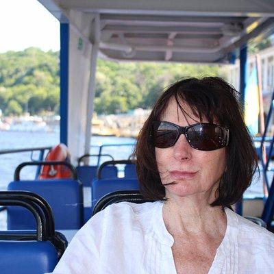 Sitting on the Riverest boat enjoying the scenery.