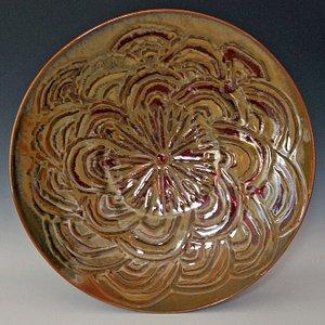 "18""diameter about 5 "" tall  antique iron glaze on porcelain"