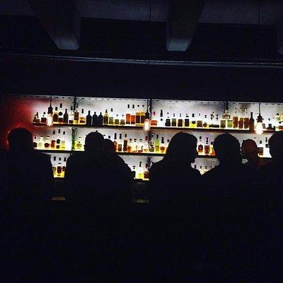 Bad Dog Bar. Lovely lit up bar.