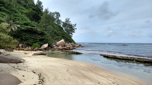 We enjoyed a bath at the calm water at Anse Consolation.