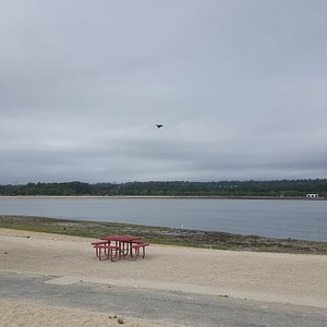 The view of Hempstead harbor beach park from the eastern shore at Tappen beach.