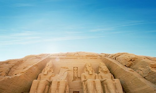 The Abu Simbel temples in the Nile Valley