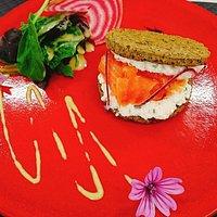 burger de lentille et saumon gravlax