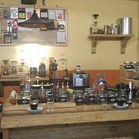 Coffee shop with a manual brew..