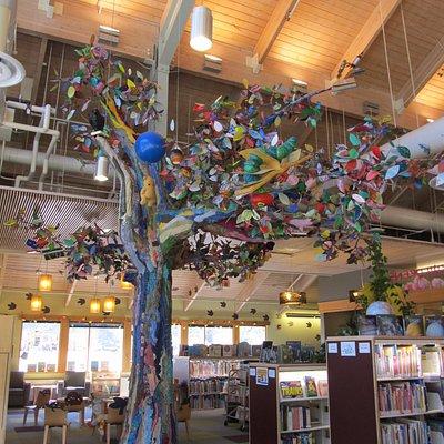 The library tree:Ketchikan branch, fiber art, Ann Carlson, Sherry Henrickson, Jackie Keizer,