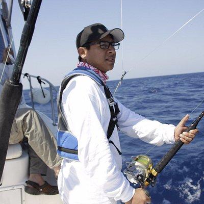Esperando unos minutos antes de liberar un Blue Marlin de mas de 350 libras... :D inolvidable!