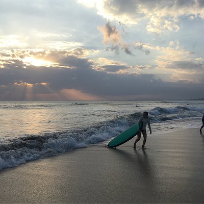 Surf lesson in the sunset time