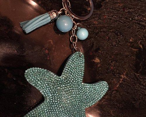 Blue beaded starfish keychain