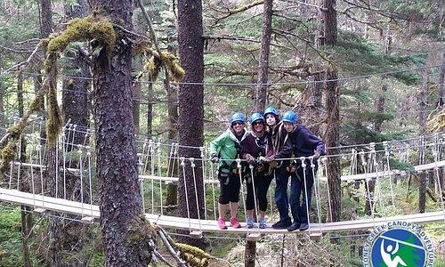 On one of the three suspension bridges.