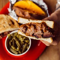 BarBQ sandwich with green beans & baked sweet potato