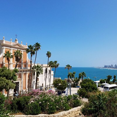 From Jaffa looking back to the beaches of Tel Aviv.