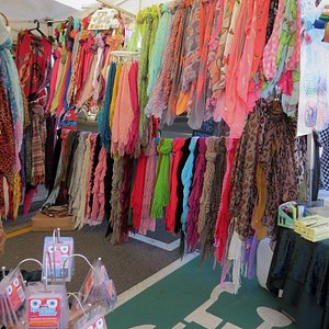 Pretty colorful scarfs, lots to choose from.