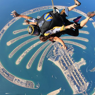 Experience skydiving in Dubai! This photo was taken over our Palm DZ location.