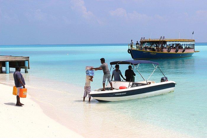 locals bringing goods to the island