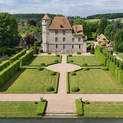 Vue aérienne côté Jardin à la Francaise