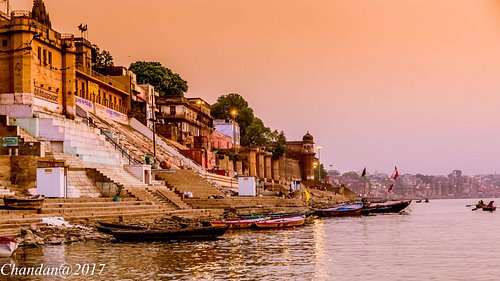 A view of the ghats taken on a boat ride
