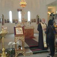 Fr Ireneu talking to the parishioners