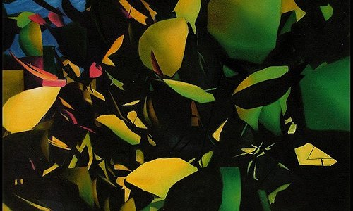 Artwork inspired by Py's rain forest gardens in Volcano, Big Island