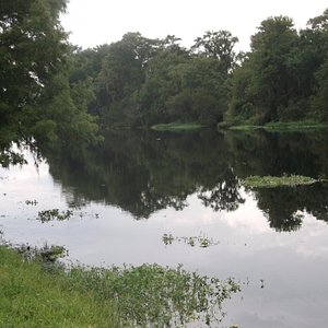 The green space borders this body of water- including paved and rough trails.