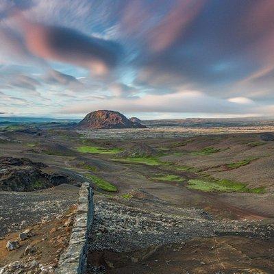 A view along the mountain ridge of Sveifluháls, the closest volcano to Reykjavik.