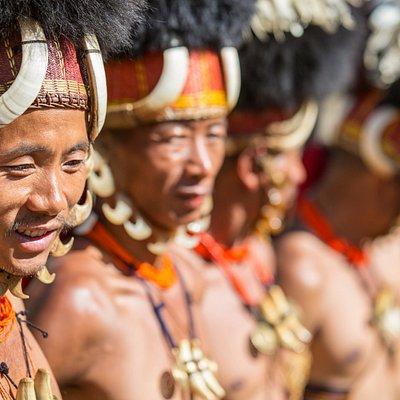 Naga tribe men near India border