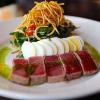 Tuna Niçoise Salad – seared ahi tuna, baby arugula, blistered tomatoes, tiny green beans, finger