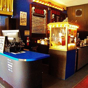 the small lobby and small concession stand.