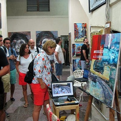 A guided group visiting the studio.