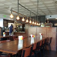 Steampunk style lighting complements the interior