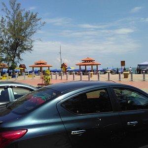 Public walk way along beach Teluk Kemang.