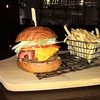Bacon and Cheese Burger! All burgers come with a side of Shoestring Fries