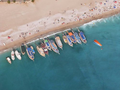 Boats anchored at Oludeniz Beach