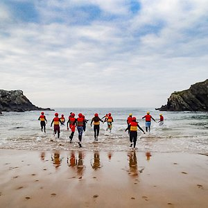 The start of a coasteering session, ready to get wet!