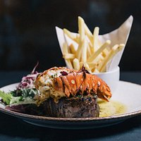 SURF & TURF, 35 day dry aged fillet, 5oz lobster tail, garlic & herb butter